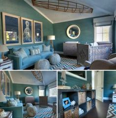 Love theme and colors for baby boys  nursery (love grass cloth walls!)