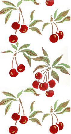 Charming cherry fruit stencil Theme pack with 4 cherry and leaf motifs 2 layer 2 sheet stencil The Cherry Stencil depicts four small bunches of sweet, ripe cherry motifs. Adds instant style and a bright, cheerful look to accessories such as table linen, tea towels and on furniture such as boxes,
