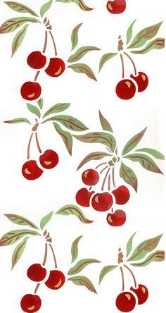 Botanical Stencils Archives - Page 2 of 4 - Henny Donovan Motif Fruit Pattern, Pattern Art, Pattern Design, Print Patterns, Print Wallpaper, Pattern Wallpaper, Iphone Wallpaper, Pink Nation Wallpaper, Cherry Drawing