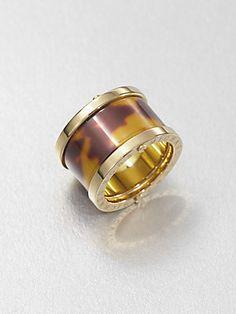 Michael Kors Tortoise-Print Barrel Ring