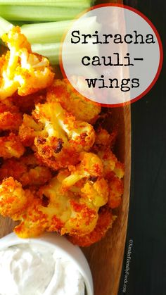 Allergy-friendly, Vegan approved & Healthy version of Buffalo Wings using wonderful cauliflower florets & spicy Sriracha sauce.