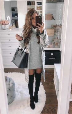 Casual winter outfits, cold weather outfits, casual night out outfit, winter office outfit Winter Outfits For Teen Girls, Chic Winter Outfits, Casual Skirt Outfits, Winter Outfits For Work, Mode Outfits, Night Outfits, Chic Outfits, Fashion Outfits, Winter Ootd
