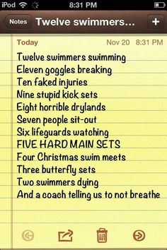 few lines about swimming