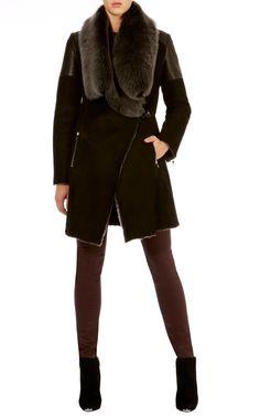 <3 <3  Draped sheepskin coat | Karen Millen