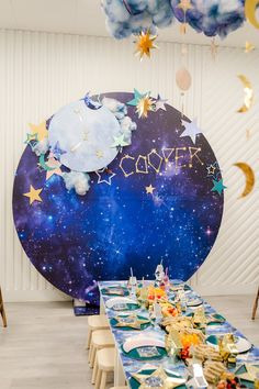 A Celestial Birthday Party for Kids That Was Written in the Stars - Turquoise Party - A Celestial Birthday Party for Kids That Was Written in the Stars Best Picture For space art For - Boy Birthday Parties, Birthday Party Decorations, 2nd Birthday, Kids Birthday Themes, Birthday Nails, Birthday Board, Themed Parties, Frozen Birthday, Mouse Parties