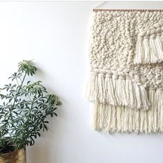 Weaving woven wall hanging tapestry by Maryanne Moodie. Www.maryannemoodie.com