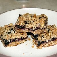 Blueberry Oat Bars.  These are a Starbucks knockoff, but they're way better!  Pretty easy to make, and perfect with a side of french vanilla ice cream.