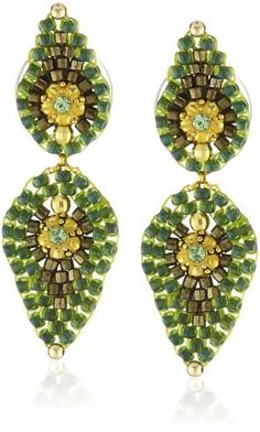 Miguel Ases Small Green Lotus Petal Drop Earrings on shopstyle.com