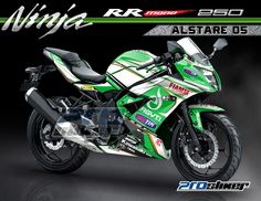 Cutting Stiker Printing Ninja 250 RR Mono Hijau Motif Grafis Moto2 Ducati ALSTARE Replica 05