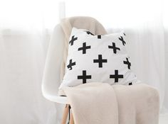 Plus sign pillow cover ,  Swiss cross pillow Case, Kids Pillows Case, Black and White Cross Pillow Case