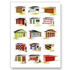 Retro Vintage Kitsch Sunurbs Garage Door Options Postcard