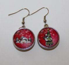 boucles d'oreilles Noël,boutons pression bonhommes de neige : Boucles d'oreille par lou-l-a-fee-creations-bijoux-fantaisie