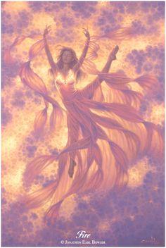 ✯ Elemental Goddess of Fire .. Artist Jonathon Earl Bowser ..✯