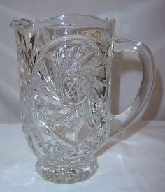 Vintage-Etched-Clear-Lead-Glass-24oz-Pitcher-Star-of-David-Pattern