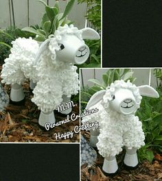 Made a cute little lamb from clay pot's.