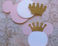 12 pálido rosa Minnie Mouse cabeza formas por sandylynnbscrapping