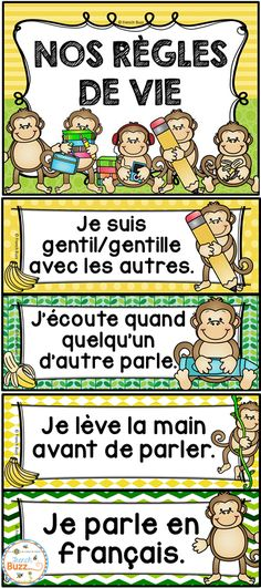 Affiches modifiables pour les règles de vie/règles d'or. Thème des singes. French Classroom, Classroom Rules, Classroom Language, Classroom Tools, French Teaching Resources, Teaching French, School Resources, French Language Lessons, French Lessons