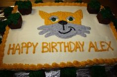 Minecraft Birthday Cake with The Cat (Stampy Cat)