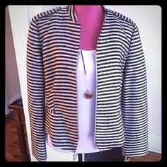 LOFT Tweed Striped Blazer This well made piece will serve as a beautiful staple in your closet. Made of acrylic, cotton, and wood. Compliments dresses and shirts alike. I've only worn this once and it has been dry cleaned. Pristine Condition. LOFT Jackets & Coats Blazers