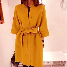 [NewYearSale]Women's #Elegant Solid Color Bow  #Wool Coat - USD $ 38.99