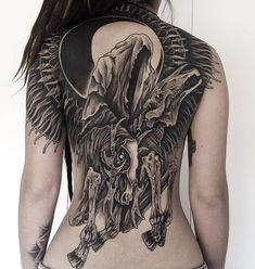 Four Horsemen, Death, moon, back tattoo Tattoo Girls, Girl Back Tattoos, Tattoo Tod, Death Tattoo, Full Chest Tattoos, Full Tattoo, Body Art Tattoos, Sleeve Tattoos, Gotik Tattoo