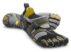 Vibram Fivefingers KomodoSport - The Fivefingers toe shoes are almost as close to running barefoot as you can get. The KomodoSport model is designed for crosstraining. I've heard they're great for parkour, weightlifting, and other activities where you have sudden starts and stops. It'd probably be decent for rock climbing too. I have to say out of all models and colors of the VFF shoes this color combo is gorgeous. There's something about it I really like - for some reason it reminds me of ce...