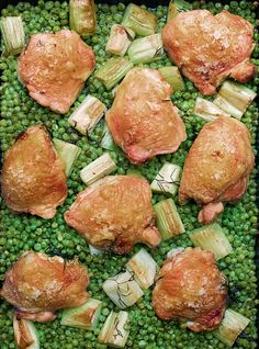 I thought I had exhausted the culinary possibilities of a pack of frozen peas, but my friend, and excellent cook, Alex Andreou, led me by the hand – it does take a leap of faith – to his method of using them, still frozen, as the first layer of a traybake. It's a life-changer. The peas become soft and sweet in the heat – duller in colour, but so much more vibrant in flavour – and the steam they produce as they bake makes the chicken beautifully tender, its skin crackly and crisp on top…