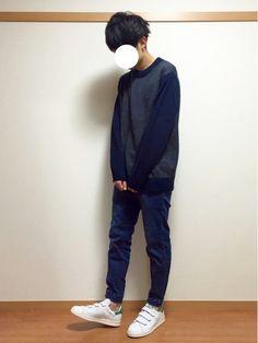 GUの990ニット。 青々しく。 ニット:XL パンツ:S いんすた:dai_wear おわり。