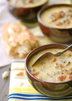 veggie soup with wild rice, ham and cream