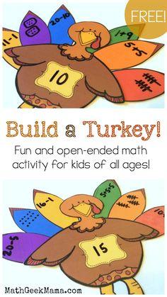 """Build a Turkey"" Number Sense Activity {FREE Printable} Easy Math Games, Number Sense Activities, Math Activities For Kids, Math Resources, Math Tips, Kids Math, Math Strategies, School Resources, Educational Activities"