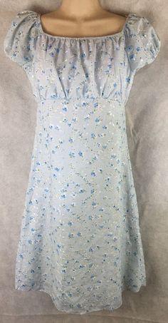 Jayne Copeland Long Blue Floral Eyelet Dress W/ Cap Sleeves Size 16  #JayneCopeland #Dress #DressyParty