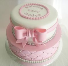 pink and silver baby shower cakes | made FRESH daily: Quilted Pink and White Baby Shower Cake!