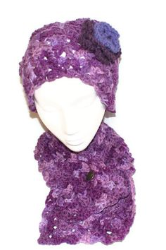 Hat and Scarf Set Purple Neckwarmer Button Scarf by lanacooper,