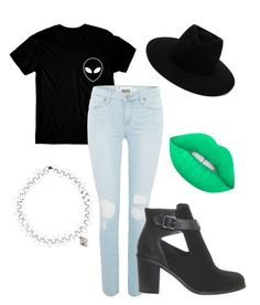 """""""Alien"""" by madison-taylor-73 on Polyvore featuring Paige Denim, Office, Lime Crime and rag & bone"""