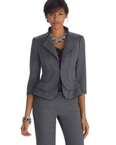 Part of our LUXE SUITING collection— flirty flare and chiffon trimmings bring a… Blazer Fashion, Suit Fashion, Work Fashion, Work Jackets, Cute Jackets, Business Dresses, Business Attire, Business Chic, Gray Jacket