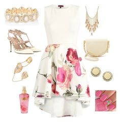 """""""Floral skater dress"""" by amna15 ❤ liked on Polyvore featuring BCBGeneration, Accessorize, Valentino, Sophie Hulme, Victoria's Secret and FOSSIL"""