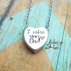 Cremation Necklace I miss you Dad Urn by JessicaDennisDesigns