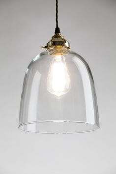 The Bell blown glass pendant light from Holloways of Ludlow's new collection, Old School Electric.