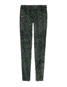 Leather Snakeskin Print Pants