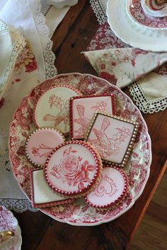 Wow!  Red transferware cookies.  Amazing.  They match some of my antique china.  Have to get these.