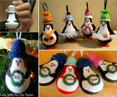Penguin Light Bulb Christmas Ornament