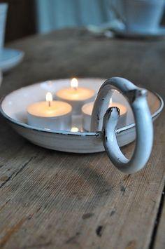 Tea Candles in a vintage candle holder Ceramic Pottery, Ceramic Art, Vintage Enamelware, Vintage Teacups, Vintage Decor, Candle In The Wind, Candle Lanterns, Candle Tray, Ceramic Candle Holders