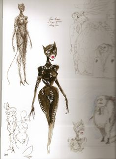 Tim Burton Sketches of Catwoman for Batman Returns. Tim Burton Stil, Tim Burton Kunst, Tim Burton Batman, Tim Burton Museum, Tim Burton Sketches, Tim Burton Artwork, Nananana Batman, You Draw, Museum Exhibition