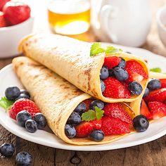 Schnelle Low Carb Pfannkuchen mit Früchten