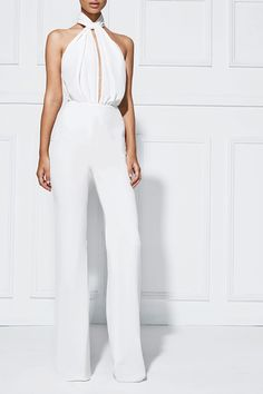 ABRIANNA WIDELEG PANTSUIT - This sophisticated pantsuit features a high cross-neck detail and deep front split. The high waist elongates the body and the tie belt synchs in the waist. Designed in Australia, this style is fabricated from a soft crepe cloth that drapes elegantly down the body. #white