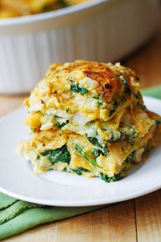 Looking for the best vegetarian lasagna recipe? You're in the right place. This Butternut Squash and Spinach lasagna will become one of your favorites! This lasagna is stuffed with vegetables and combines Ricotta, Parmesan, and Mozzarella Vegetable Lasagna Recipes, Veggie Dishes, Veggie Recipes, Pasta Dishes, Vegetarian Recipes, Dinner Recipes, Cooking Recipes, Healthy Recipes, Pasta Recipes