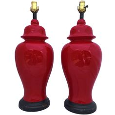 Pair of Red Mid-Century Ginger Jar Lamps | See more antique and modern Table Lamps at http://www.1stdibs.com/furniture/lighting/table-lamps