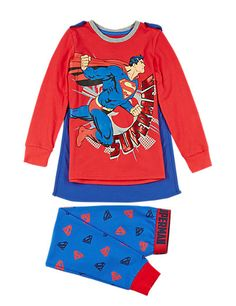 Cotton Rich Superman™ Pyjamas with Cape (1-8 Years) | M&S