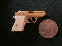 Miniature Walther PPK pistol, 1/4 scale, single shot, 2mm rimfire - right side view. See how this miniature gun was made on my youtube channel: https://www.youtube.com/watch?v=lWgEjzvWBXA