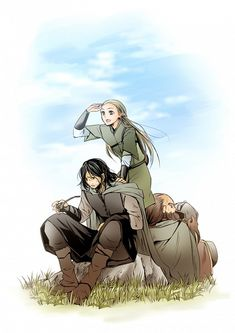 Tags: Anime, Elf, The Lord of the Rings, Dwarf, Looking Away, Aragorn II Elessar Telcontar, Gimli